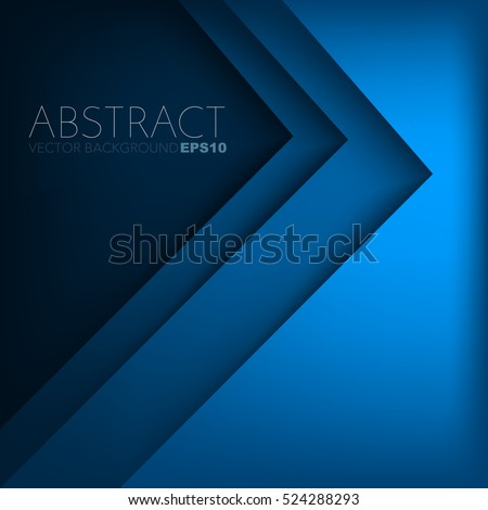 Blue triangle vector background with overlap paper layer gradient color with space for text and message artwork design