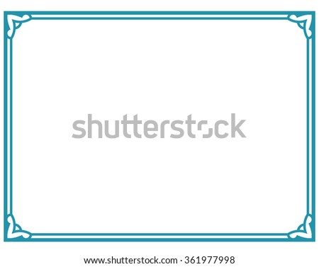Blue Turquoise Border Frame Deco Vector Label Simple Line Corner