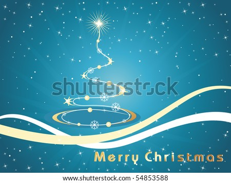 blue twinkle star background with curve tree, curve stripes