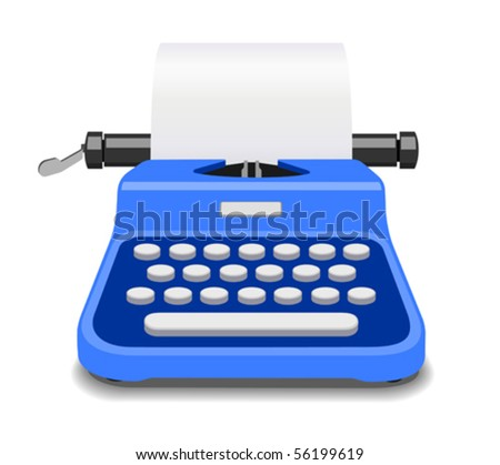 Blue typewriter vector illustration
