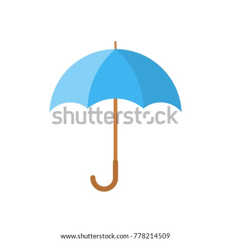 Blue umbrella icon in flat design. Vector illustration. Umbrella sign on white background.