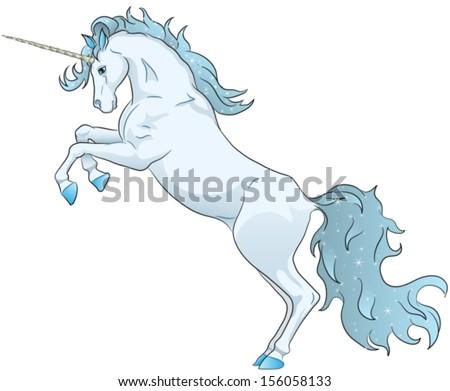 blue unicorn standing on hind