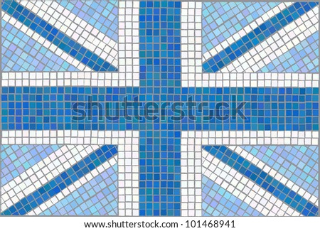 Blue Union Jack. Vintage mosaic style. EPS10 vector format.