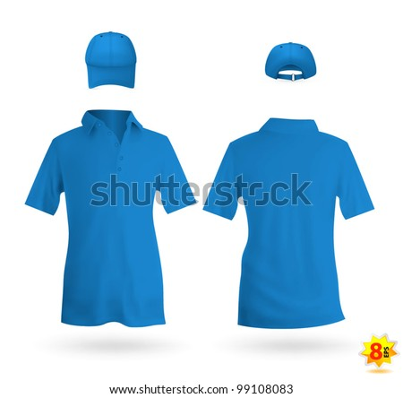 Blue unisex uniform template set: polo shirt and baseball cap