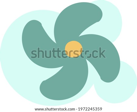 Blue unusual flower, icon illustration, vector on white background