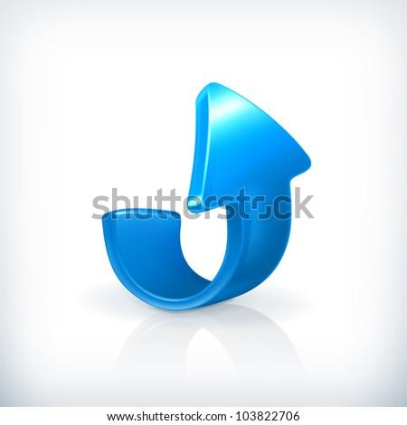 Blue up arrow, vector