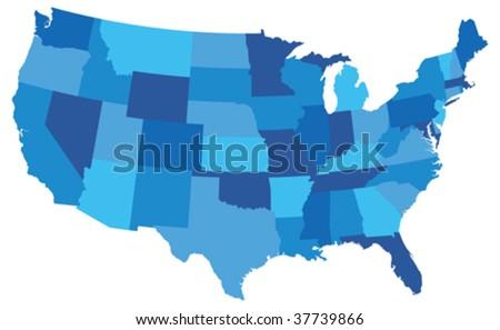 Blue USA State map