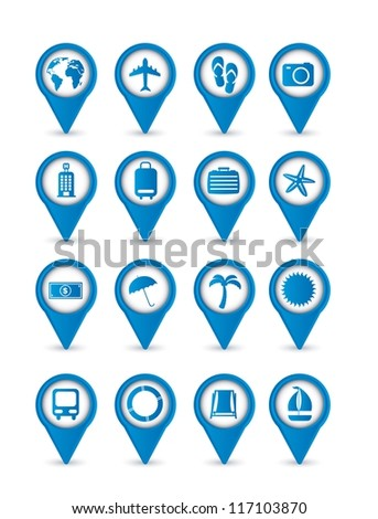 blue vacation  icons isolated over white background. vector