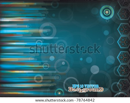 Blue vector abstract background of colored lines for any design work
