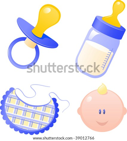 Blue Vector baby's dummy, baby bottle, bib and baby boy. Isolated on white.