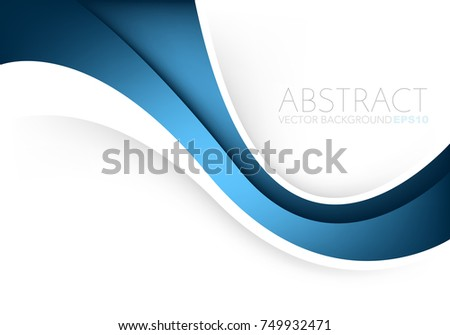 Blue vector background curve line overlap layer on white space for text and background design