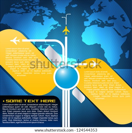 Blue vector background with aircraft in the world