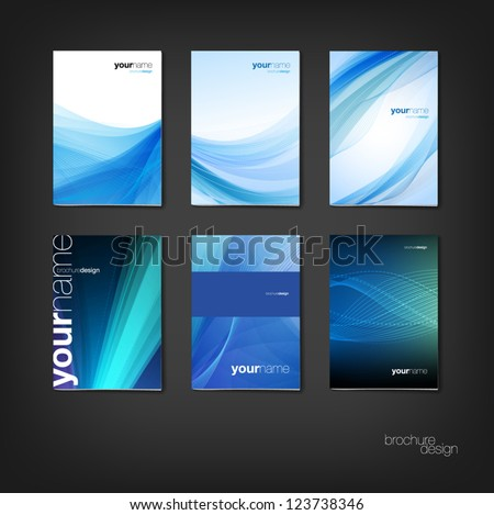 Blue vector brochure / booklet cover design templates collection