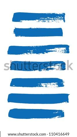 Blue vector brush strokes collection