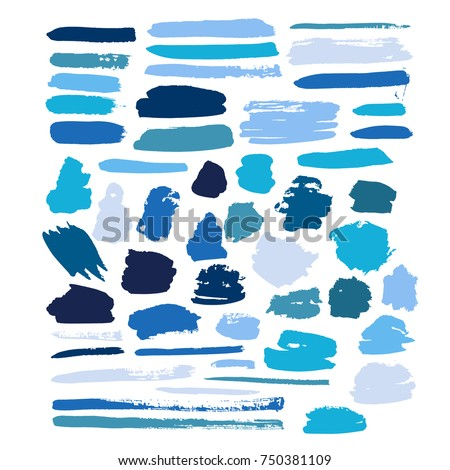 blue vector brush strokes of paint on white background