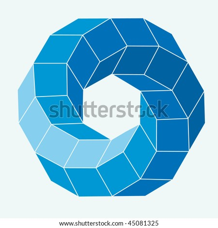 Blue Vector cube elements