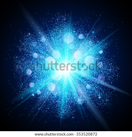 blue vector dust explosion on