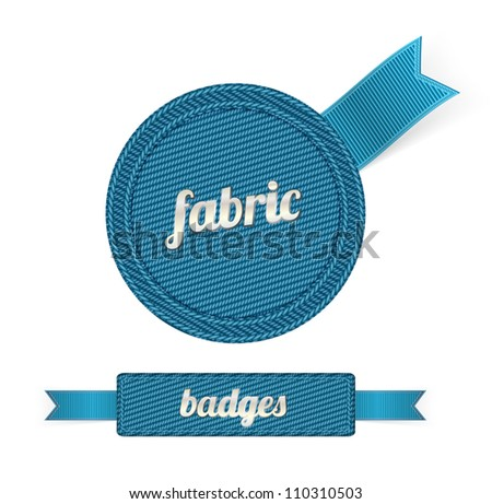 Blue vector fabric badges with blue ribbons