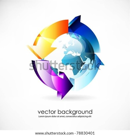 blue vector globe surface with 3d arrows
