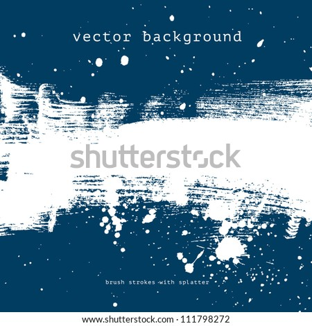 Blue vector grungy brush stroke hand painted background with paint splatter