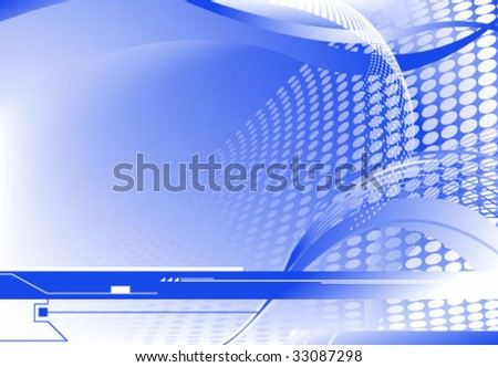 Blue vector horizontal sci-fi abstract background, gradient mesh used