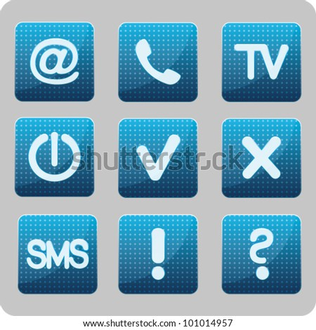 blue vector interface icons about communication