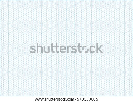 Blue vector isometric grid graph paper with plotting triangular and hexagonal ruler guide line grid accented every 5 steps. A4 landscape oriented background