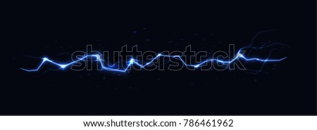 Blue vector lightning on black background, vector illustration.