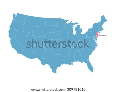 blue vector map of United States with indication of New Jersey
