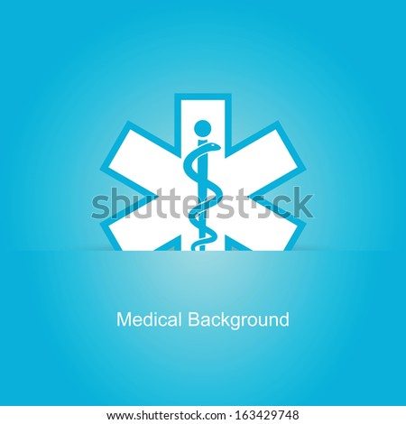 Blue vector medical background with caduceus snake