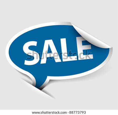 Blue Vector Sale speech bubble as pointer with white border
