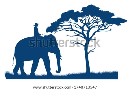 Blue vector silhouette of an elephant rider. African tree in the savannah. Mammal and human. Safari wild savannah. African landscape. Ride an elephant. Flat dark blue illustration Foto stock ©