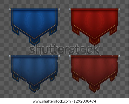 Blue versus red team banners on poles. Medieval pennants, old and new. Victory and defeat. Asset for game ui. Eps10 vector