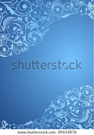 Blue vertical floral vector background. - stock vector