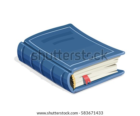 Blue vintage book with bookmark. Education literature. Vector illustration. Isolated white background ストックフォト ©