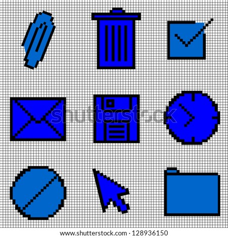 Blue Vintage Icons Vector