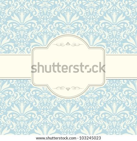 blue vintage label vector frame