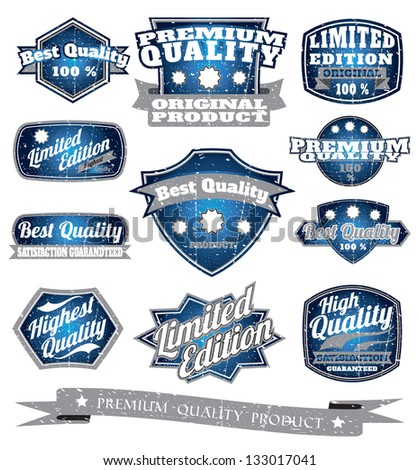 blue vintage quality premium label collection