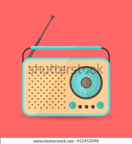 Blue vintage radio on red background. Vector illustration. Flat style.