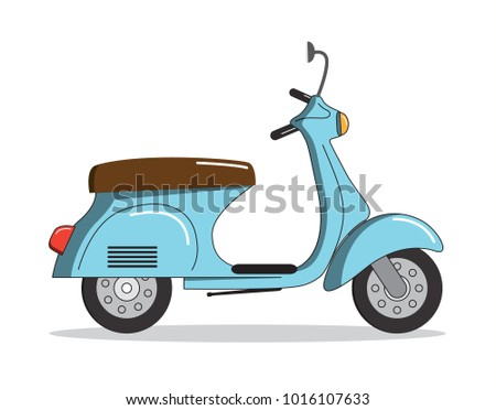 Blue vintage scooter icon. Vector illustration.