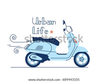 Blue vintage scooter, vector illustration, urban life, ride a motorbike in the city