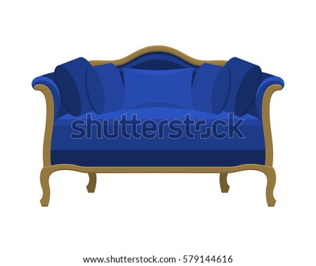 blue vintage sofa icon of