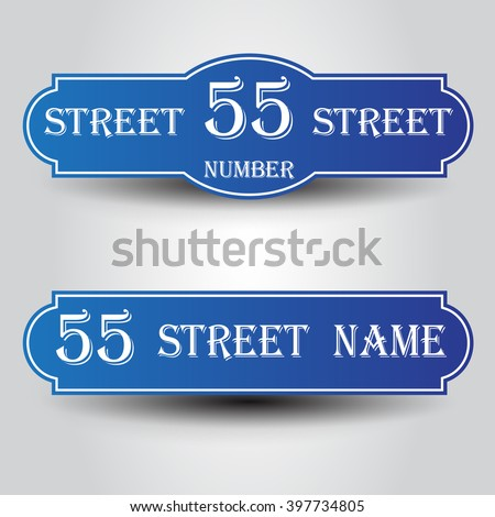 Blue vintage styled house nameplate