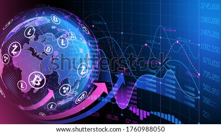 Blue violet vector background. Bitcoin and blockchain. Electronic cryptocurrency and modern technology. Online banking, and financial communications. World wide web. Hologram with a globe of the word