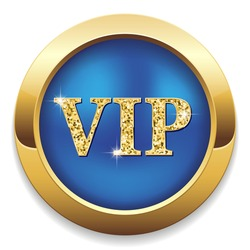 Blue vip button with gold border on white background