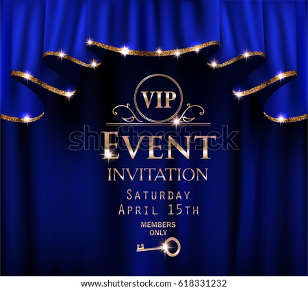 blue vip event invitation card
