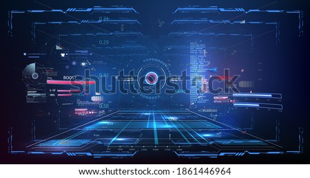 Blue Virtual reality space. Futuristic VR frame, Head-up Display Design. Sci-Fi Helmet HUD UI. Futuristic Technology. Cockpit of futuristic autonomous car. High tech screen. GUI design for video games