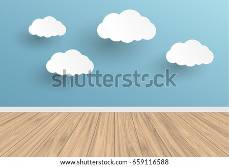 blue wall and cloud with wood