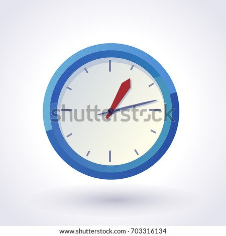 Blue Wall Clock. Vector clip art