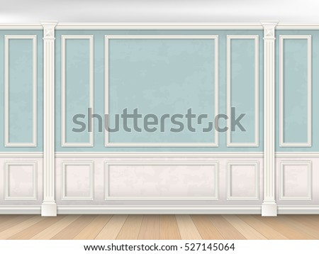 blue wall interior in classical
